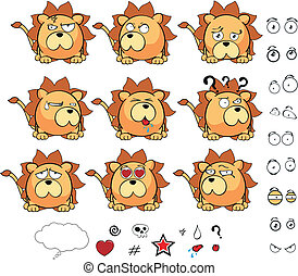 lion ball cute cartoon vector set in vector format