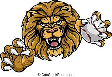 Lion Baseball Ball Sports Mascot