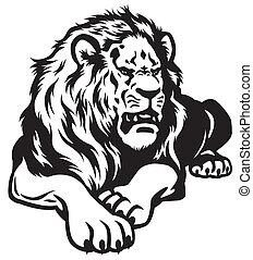 lion black white - lion black and white illustration