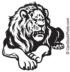 lion black white
