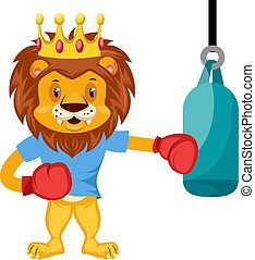 Lion boxing, illustration, vector on white background.