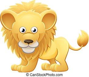 lion, caractère, dessin animé, animal