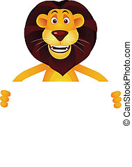 Lion cartoon and blank sign