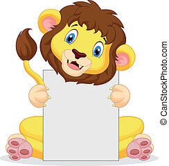 Lion cartoon holding blank sign