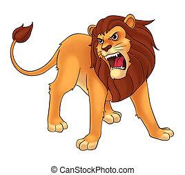 lion cartoon illustration for kids.