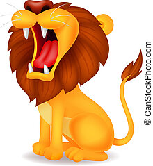 Lion cartoon roaring - Vector illustration of lion cartoon...