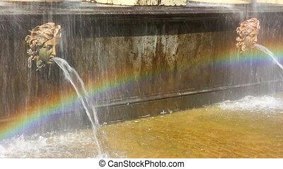 Lion cascade fountain fragment in petergof park St. Petersburg Russia