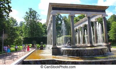 Lion cascade fountain in petergof park St. Petersburg Russia