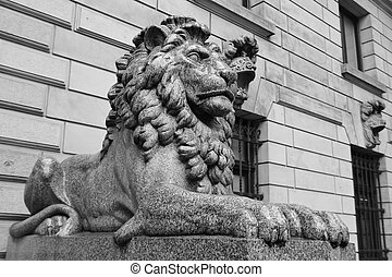 lion, centre, statue, hambourg