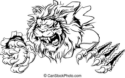 Lion claw breakthrough - An attacking lion with claws ...