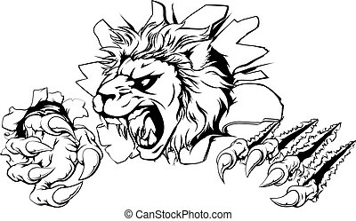 A lion sports mascot or character breaking out of the background or wall