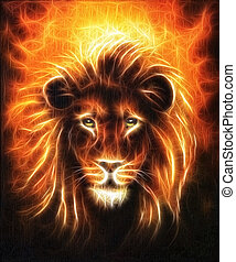 Lion close up portrait, lion head with golden mane, beautiful detailed oil painting on canvas, eye contact fractal effect