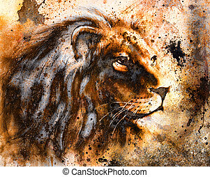 lion collage on color abstract background, rust structure, wildlife animals.