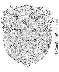 Download Outline lion mandala. Hand-drawn mandala with outline lion ...