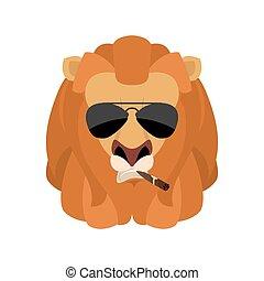 Lion Cool serious avatar of emotions. Wild animal smoking cigar emoji. Beast strict. Vector illustration