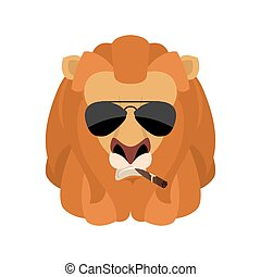 Lion Cool serious avatar of emotions. Wild animal smoking cigar emoji. Beast strict. Vector illustration