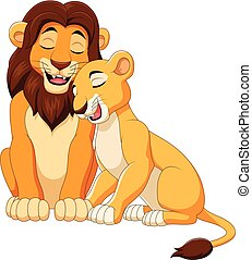lion, couple, dessin animé