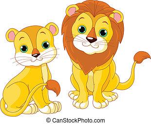 Lion couple - Illustration of cute lion couple