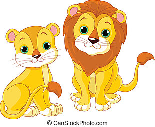 Lion couple - Illustration of cute lion couple