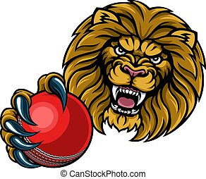 Lion Cricket Ball Sports Mascot