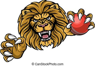 Lion Cricket Ball Sports Mascot - A lion angry animal sports...
