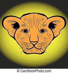 lion cub drawn