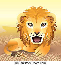 Lion Cub - Illustration of baby lion in the wilderness, more...
