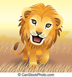 Illustration of baby lion in the wilderness, more animals in my portfolio.