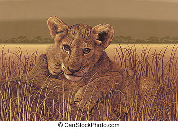 Lion Cub - Image from an original painting by Larry Jacobsen...