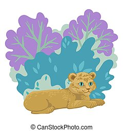 Lion cub lying on the grass, trees and forest on the background. Vector cute illustration