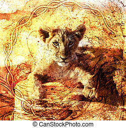 Lion cub photos and painting Abstract Collage. Eye contact. Celtic Ornament background