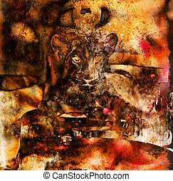 Lion cub photos and painting Abstract Collage. Eye contact
