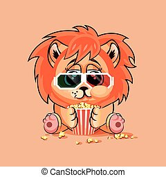 Lion cub watching a movie - Vector Illustration Emoji...
