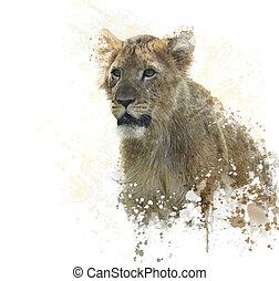 lion Cub watercolor