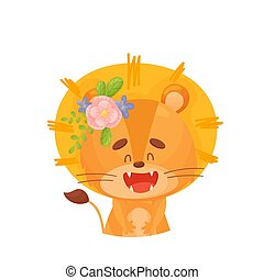 Lion cub with a flower in the mane. Vector illustration on a white background.