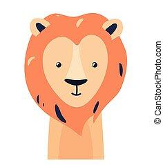 Lion cute animal baby face vector illustration. Hand drawn style nursery character. Scandinavian funny kid design