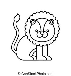 lion cute animal icon
