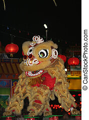 A lion dance performed on stilts - a Chinese cultural show usually performed during the Chinese New Year celebrations.