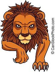 lion, dessin animé, attaquer