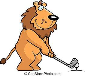 lion, dessin animé, jouer golf