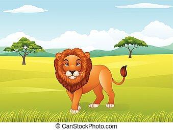 lion, dessin animé, mascotte