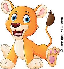 lion, dessin animé, mignon