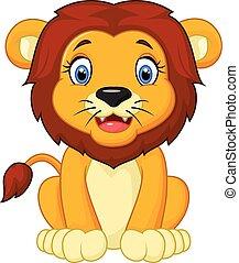 lion, dessin animé, séance