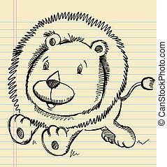 Lion Doodle Sketch Vector