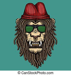 lion dreadlocks head vector illustration