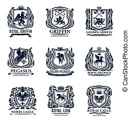 Lion, eagle, griffin and pegasus heraldic icons