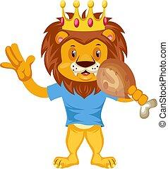 Lion eating, illustration, vector on white background.
