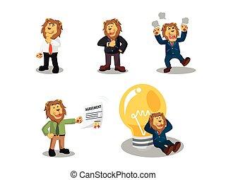 lion, ensemble, dessin animé, business