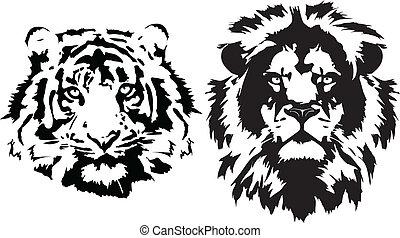 lion, et, tigre, têtes, dans, noir