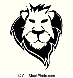 Lion face black and white - Vector Illustration